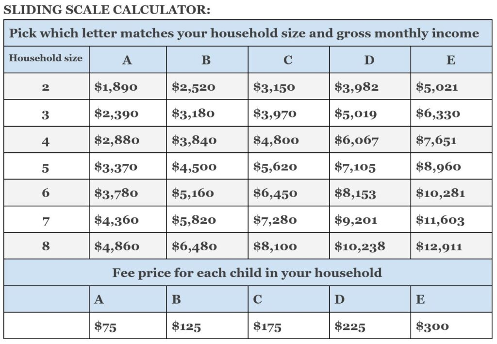 Sliding Scale Fees